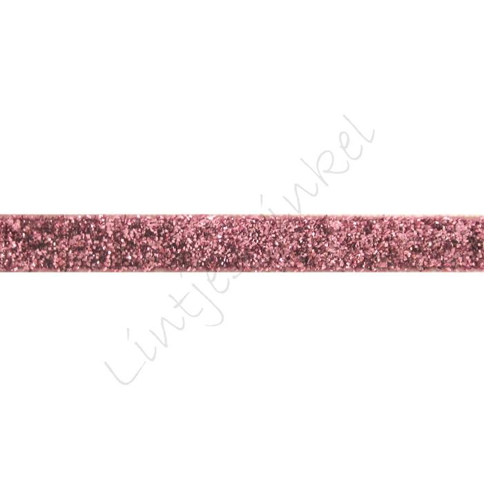 Glitter fluweel lint 10mm - Roze