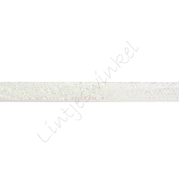 Glitter fluweel lint 10mm - Wit