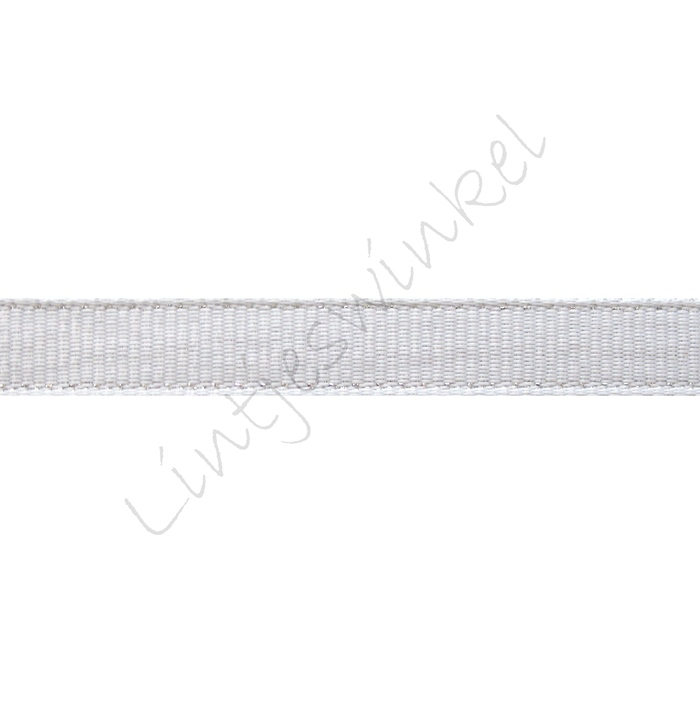 Metallic grosgrain lint 10mm - Wit Glitter
