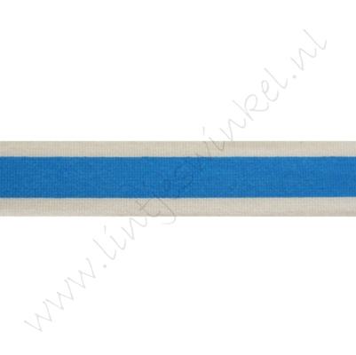 Katoenlint 16mm - Streep Blauw