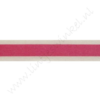 Katoenlint 16mm - Streep Pink