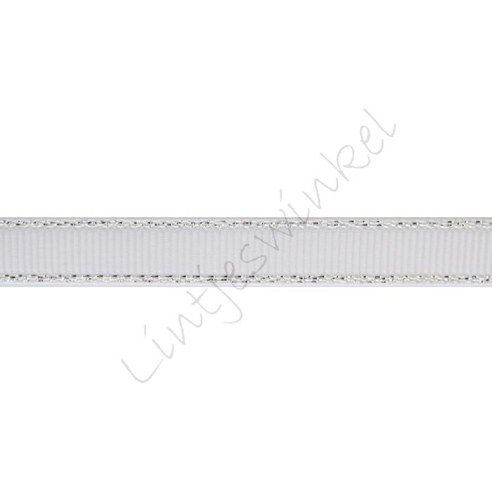 Lint glitterrand 10mm - Grosgrain Wit Zilver
