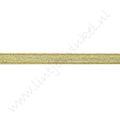 Glitter organza lint 6mm - Goud