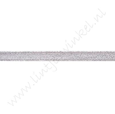 Glitter organza lint 6mm - Zilver