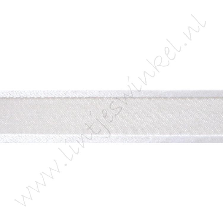 Organza Satijnrand 22mm - Wit