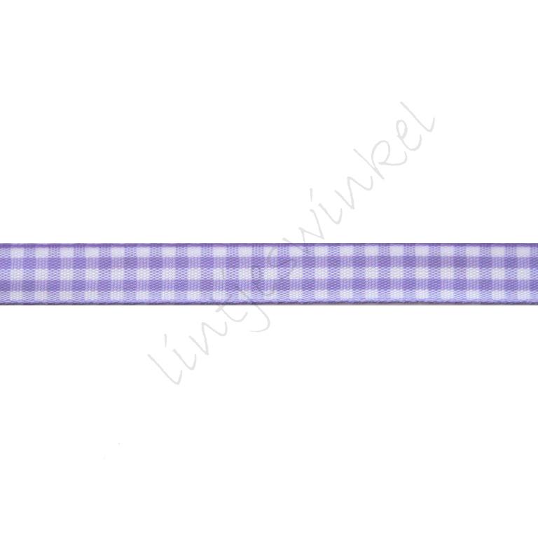 Geruit lint 10mm - Lavendel
