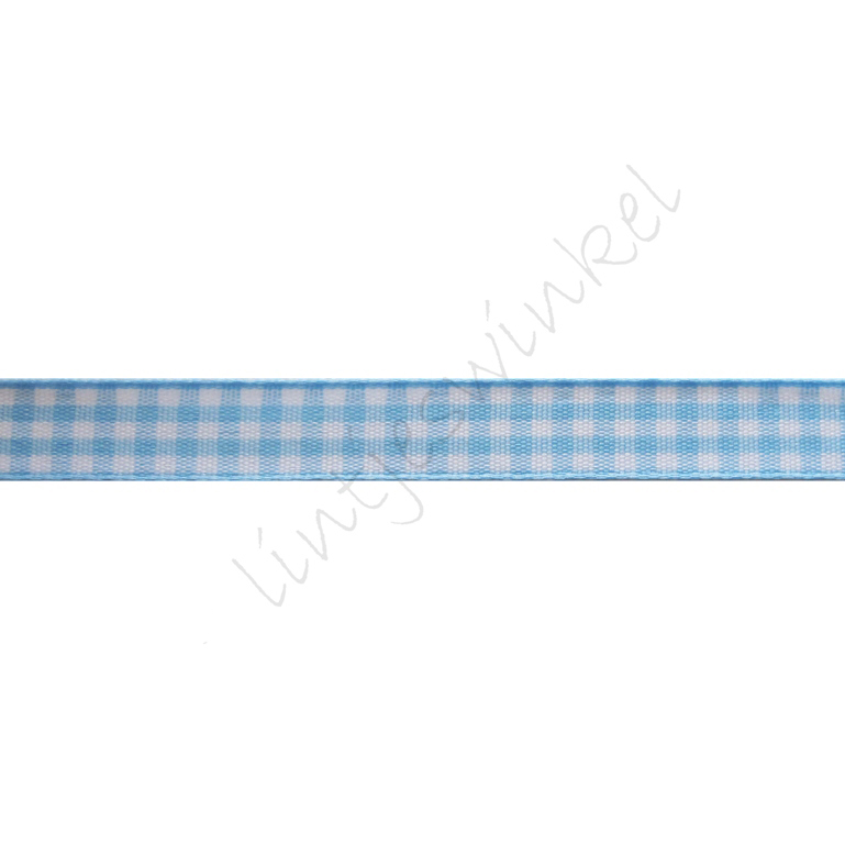 Geruit lint 10mm - Licht Blauw