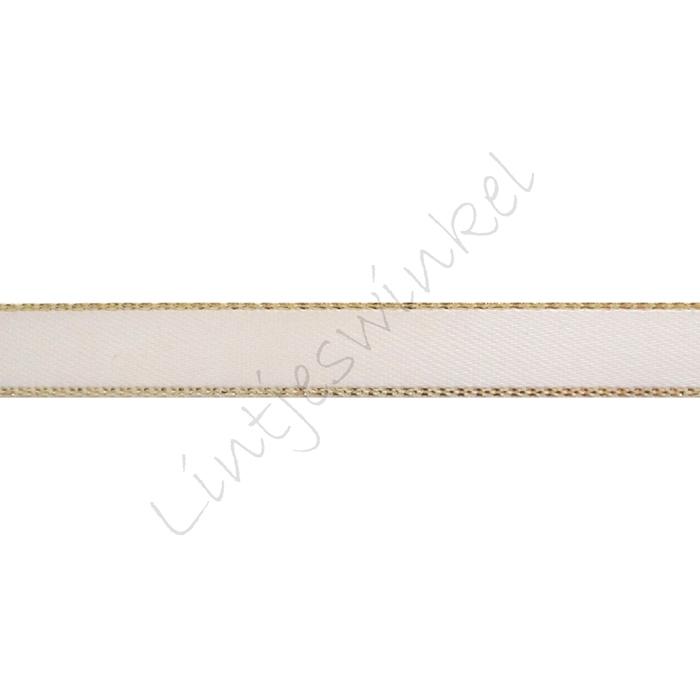 Lint glitterrand 10mm - Satijn Creme Goud