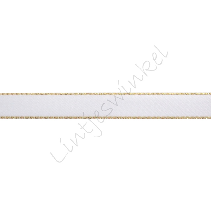 Lint glitterrand 10mm - Satijn Wit Goud