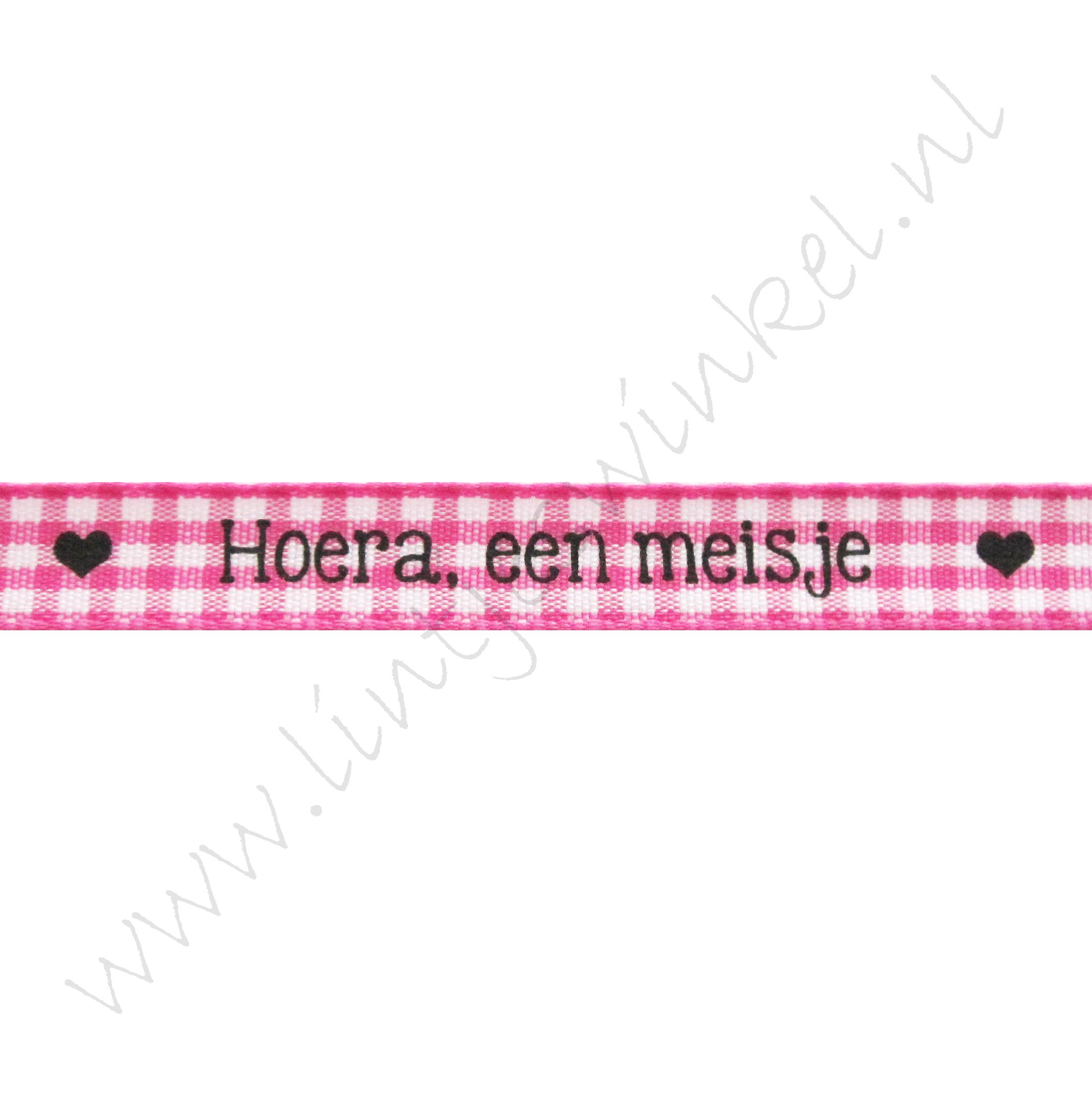 Baby lint 10mm - Hoera, een meisje Ruit Fuchsia