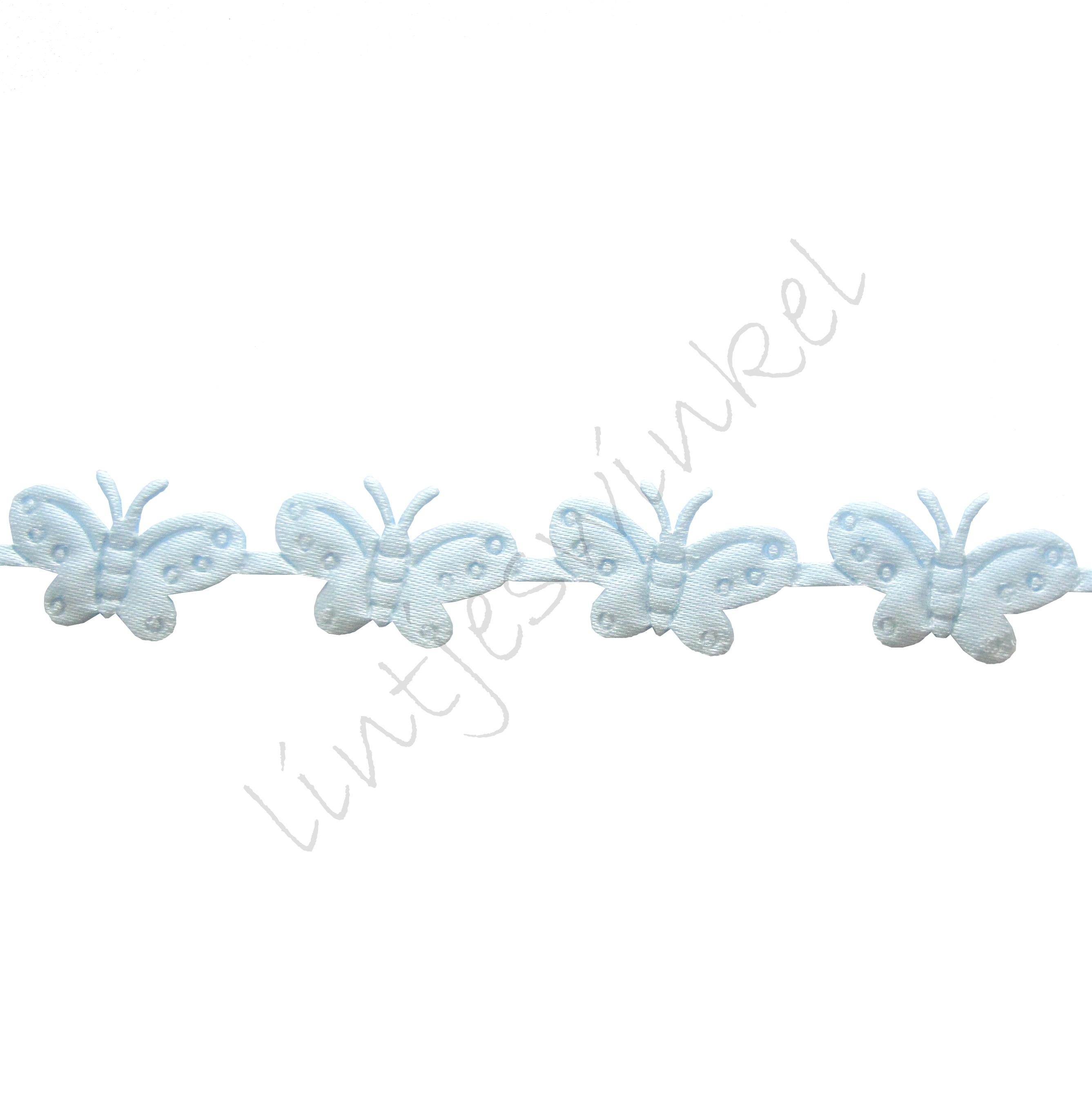 Baby lint 16mm - Vlinder Applique Licht Blauw