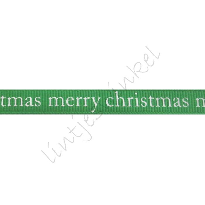 Kerstlint 10mm - Merry Christmas Groen Wit