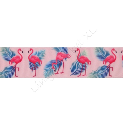 Lint met print 25mm - Flamingo Roze