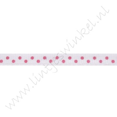 Stippenlint 6mm - Wit Pink