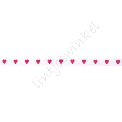 Satijnlint harten 3mm - Wit Fuchsia