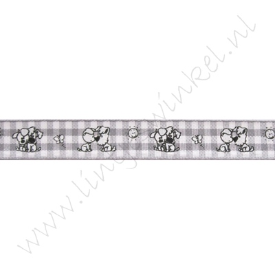 Baby lint 12mm - Woezel & Pip Ruitjes Grijs