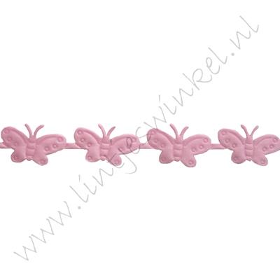 Baby lint 16mm - Vlinder Applique Roze