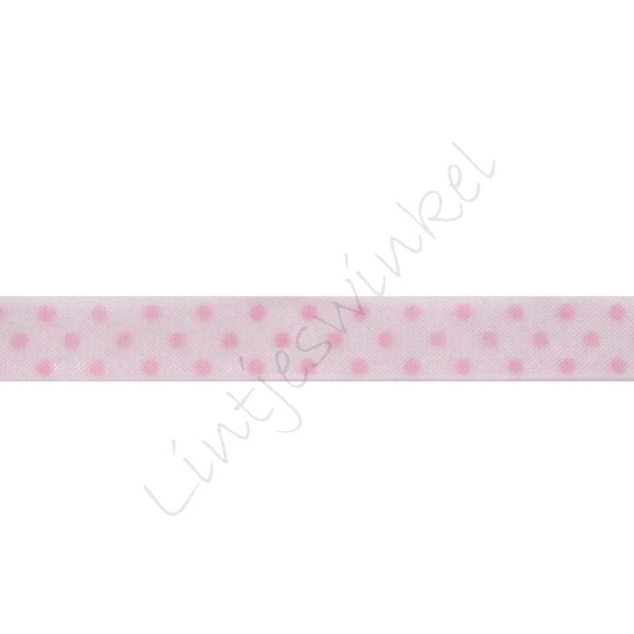 Organza Stip 10mm - Wit Roze