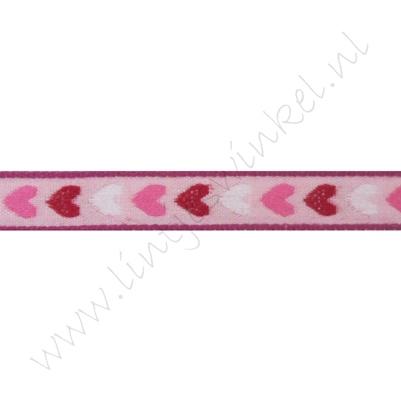 Jacquard weefband 10mm - Harten Roze Rood