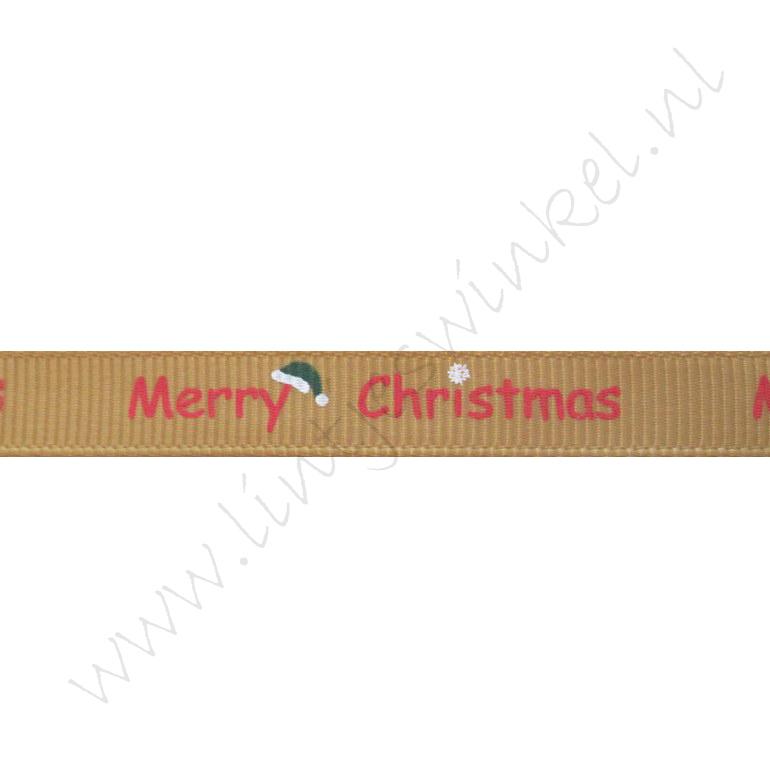 Kerstlint 10mm - Merry Christmas Kerstmuts Goud