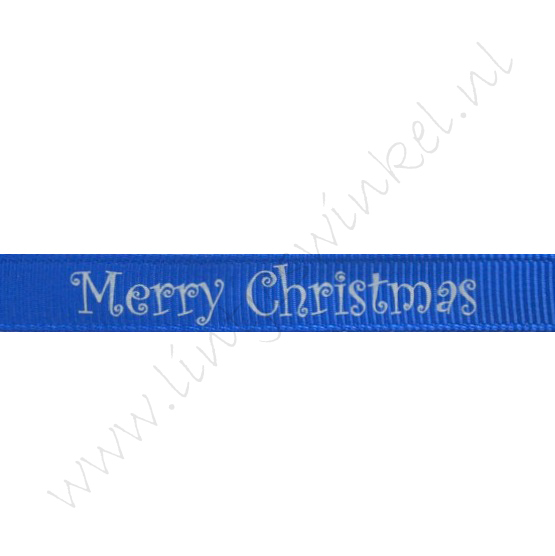 Kerstlint 10mm - Merry Christmas Blauw Zilver