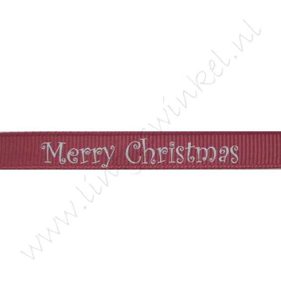 Kerstlint 10mm - Merry Christmas Bordeaux Zilver