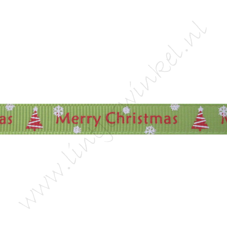 Kerstlint 10mm - Merry Christmas Kerstboom Licht Groen