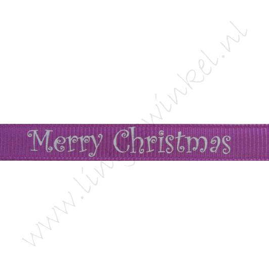 Kerstlint 10mm - Merry Christmas Paars Zilver