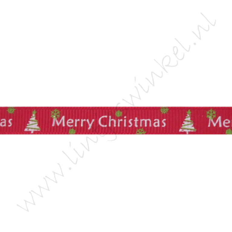 Kerstlint 10mm - Merry Christmas Kerstboom Rood