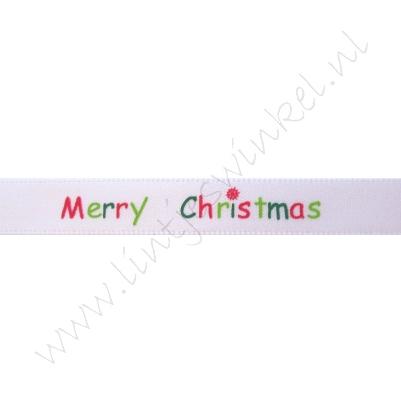 Kerstlint Satijn 10mm - Merry Christmas Wit Rood Groen