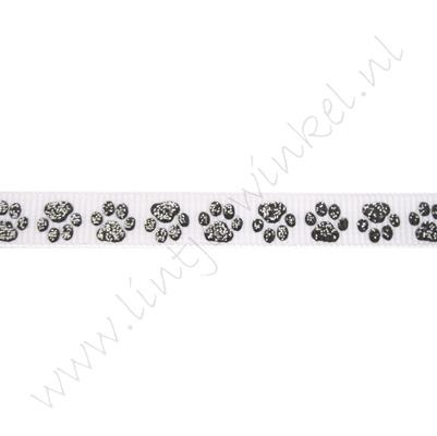 Lint met print 10mm - Pootafdruk Wit Zwart Glitter