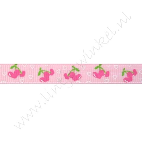 Lint met print 10mm - Hartenkersjes Roze