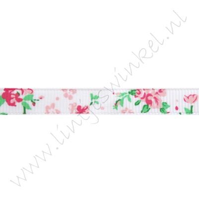Lint bloemen 10mm - Roosjes Wit Pink