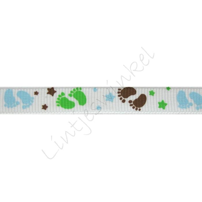 Baby lint 10mm - Voetjes Blauw Groen