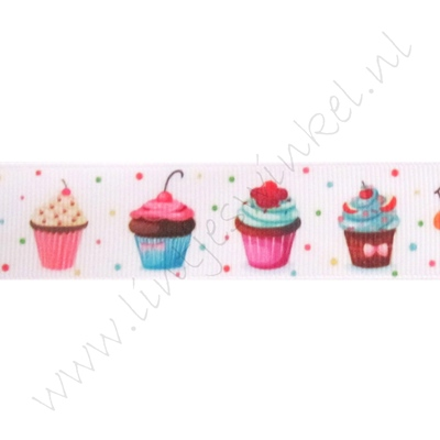 Lint met print 22mm - Cupcakes Wit Confetti
