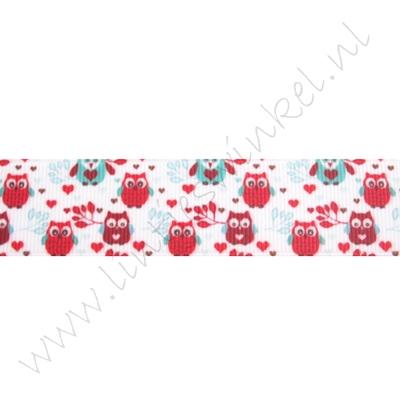 Lint met print 25mm - Mini Uiltjes Rood