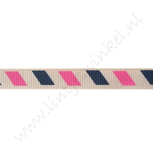 Lint met print 10mm - Airmail Marine Pink