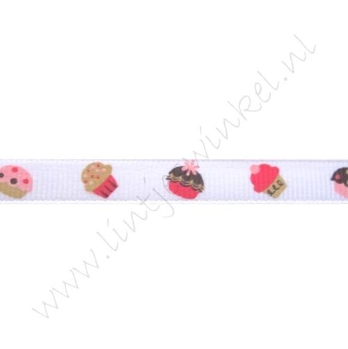 Lint met print 10mm - Cupcakes Wit