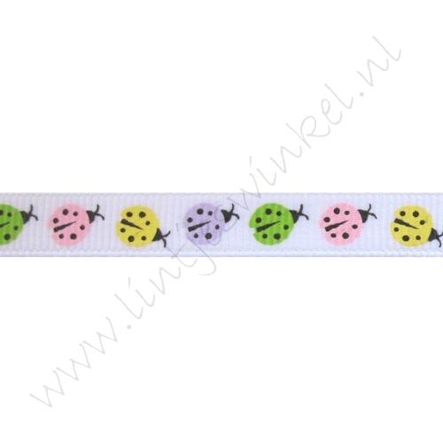 Lint met print 10mm - Lieveheersbeestjes Geel Roze Groen