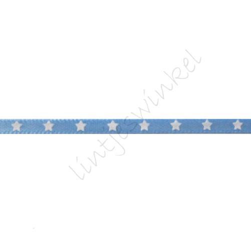 Satijnlint sterren 3mm - Licht Blauw Wit