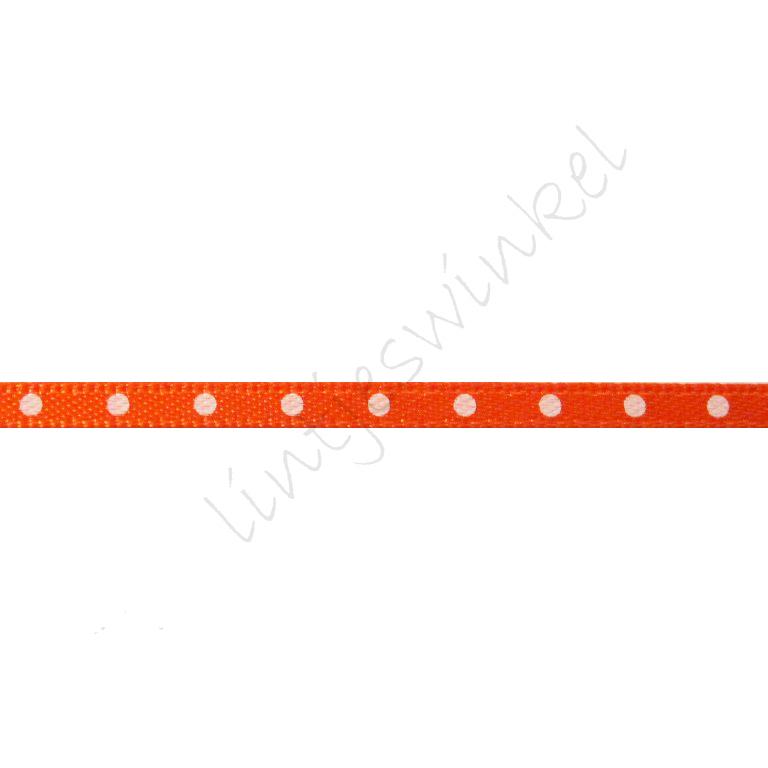 Satijnlint Stip 3mm - Oranje Wit