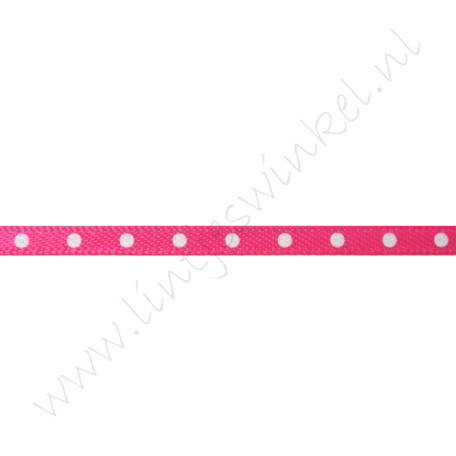 Satijnlint Stip 3mm - Pink Wit