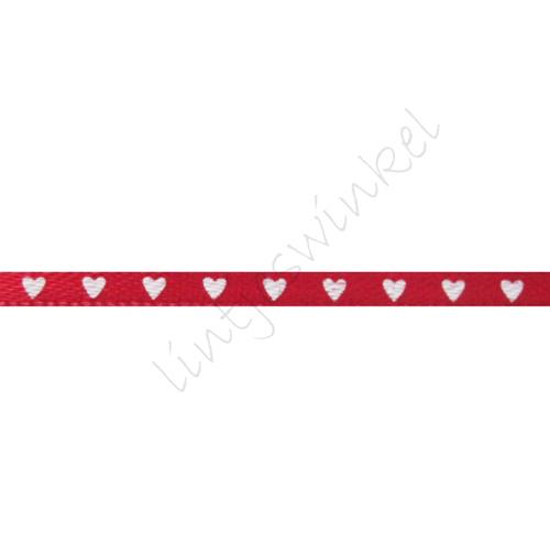 Satijnlint harten 3mm - Rood Wit