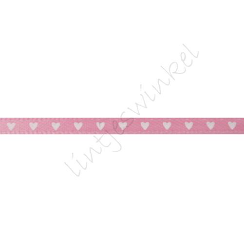 Satijnlint harten 3mm - Roze Wit