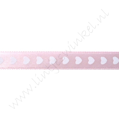 Satijnlint harten 10mm - Roze Wit