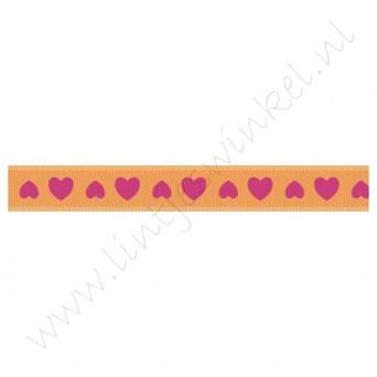 Satijnlint harten 10mm - Oranje Pink