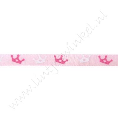 Baby satijnlint 6mm - Kroontje Roze Pink