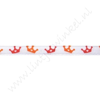 Satijnlint Hollandia 6mm - Kroontje Wit Oranje