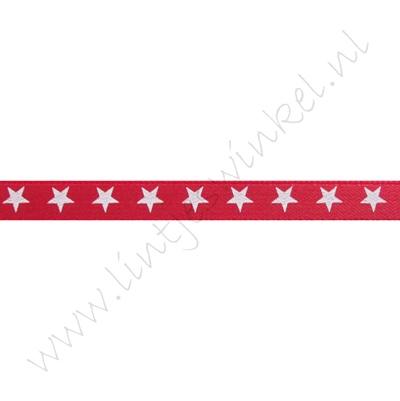 Satijnlint sterren 6mm - Rood Wit