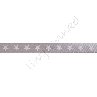 Satijnlint sterren 6mm - Marine Wit